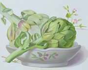 Green Bowl Framed Prints - Artichokes Framed Print by Lizzie Riches