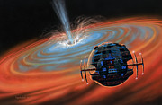 Space Painting Originals - Artificial Planet Orbiting a Black Hole by Lynette Cook