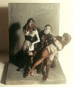 Erotic Sculptures - Artist 2 Models in Black Lingerie by Harry WEISBURD