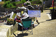 Esplanade Outdoors Posters - Artist at Work in Seaview - Isle of Wight Poster by Rod Johnson