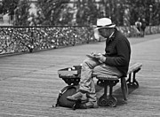 At Work Metal Prints - Artist on the Bridge - Paris People Series Metal Print by Georgia Fowler