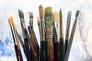 Paintbrush Photo Posters - Artist paintbrushes Poster by Garry Gay