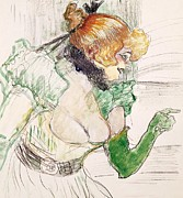 Singer Painting Framed Prints - Artist with Green Gloves - Singer Dolly from Star at Le Havre Framed Print by Henri de Toulouse Lautrec