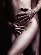Intimacy Photo Prints - Artistic closeup sexy nude couple embracing Print by Oleksiy Maksymenko