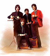 Beatles Drawings Metal Prints - Artistic Masters The Beatles  Metal Print by Iconic Images Art Gallery David Pucciarelli