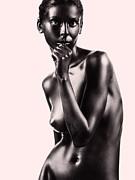 Nudes Pyrography Posters - Artistic Nude Beautiful Woman Beige Background Poster by Dan Comaniciu