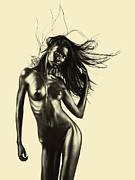 Flow Pyrography Posters - Artistic Nude Of Young Woman Beige Background Poster by Dan Comaniciu