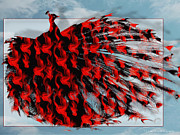 Art Product Mixed Media Prints - Artistic Red Peacock Print by Yvon -aka- Yanieck  Mariani