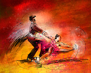 Skating Mixed Media - Artistic Roller Skating 02 by Miki De Goodaboom
