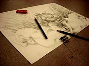 Angel Drawings - Artists Angel by Diane Peters