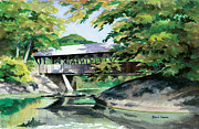 Covered Bridge Painting Metal Prints - Artists Bridge September Metal Print by Steve Hamlin