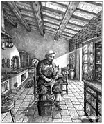 Italian Kitchen Drawings Prints - Artists Grandmother Plucking Chicken Print by Pierre Salsiccia