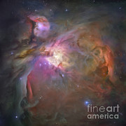 Painted Image Prints - Artists Painting Of The Orion Nebula Print by Carlyn Iverson