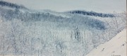 Snow Scene Painting Originals - Artists Winter View by Claudia Rutherford