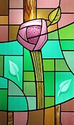 Roses Glass Art Prints - Arts and Crafts Rose Print by Gilroy Stained Glass