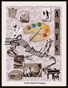 Grand Piano Digital Art Posters - Arts Collage Poster by Bobbee Rickard