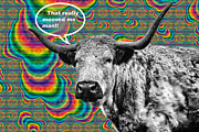 Longhorn Digital Art Posters - Arty Coo Really Mooved Poster by John Farnan