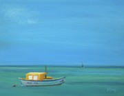 Docked Boat Painting Prints - Aruba Print by Donna Tuten