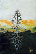 Tree Roots Mixed Media Prints - As Above so  Below Print by Sally Clark