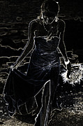Intrigue Metal Prints - As Aphrodite Coming from Sea Foam. Black Art Metal Print by Jenny Rainbow