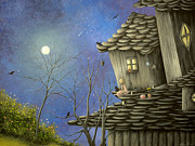 Surreal Cat Landscape Posters - As Nightfalls. Fantasy Cottage Fairytale Art By Philippe Fernandez   Poster by Philippe Fernandez