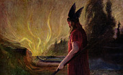 Wagner Posters - As the Flames Rise Odin Leaves Poster by Hermann Hendrich