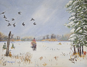 Crows Paintings - As the Snow Blows the Crows Away by Terry Anderson
