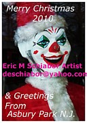 Old Towns Digital Art Prints - Asbury Park  NJ Clown Christmas Card Print by Eric  Schiabor