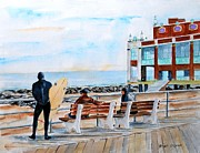 New Jersey Painting Originals - Asbury Park Surfers by Brian Degnon
