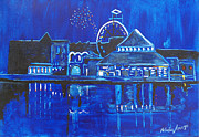Asbury Park Paintings - Asbury Parks Night Memories by Patricia Arroyo