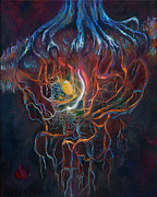 Tree Roots Painting Framed Prints - Ascension of the Soul Part I Framed Print by Kd Neeley