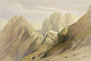 Mountains Prints - Ascent of the Lower Range of Sinai Print by David Roberts