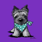 Kiniart Mixed Media Framed Prints - Ash Cairn Terrier In Dots Framed Print by Kim Niles