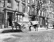 City Streets Framed Prints - Ash Cart New York City 1896 Framed Print by Unknown