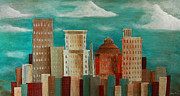 Asheville Painting Posters - Asheville Skyline Poster by Gray  Artus