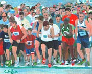 Boston Ma Paintings - Ashland Half Marathon by Cliff Wilson