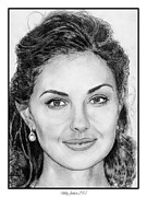 Closeups Drawings Posters - Ashley Judd in 2007 Poster by J McCombie