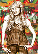 Michelle Mixed Media Posters - Ashley Tisdale - stylised drawing art poster Poster by Kim Wang
