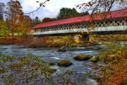 Autumn Scenes Metal Prints - Ashuelot Covered Bridge 2 Metal Print by Joann Vitali