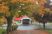Monadnock Region Posters - Ashuelot Covered Bridge Autumn Rain Poster by John Burk