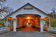 Country Scenes Metal Prints - Ashuelot Covered Bridge Metal Print by Joann Vitali