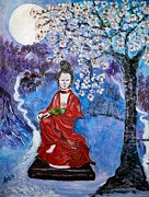 Cherry Blossoms Painting Originals - Asian Beauty by Arlen Avernian Thorensen