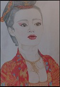 Pencil Artwork Drawings Prints - Asian Beauty Print by Melissa Nankervis