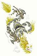Extinct And Mythical Mixed Media Metal Prints - Asian Dragon Metal Print by Jennifer  Anne Esposito