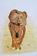 Africa Pastels Originals - Asian Elephant with Baby by Danae McKillop