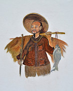 Hard Pastels Posters - Asian Fisherman Poster by Danae McKillop