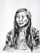 Featured Drawings - Asian Girl Wearing Intricate Blouse by Dennis Lansdell