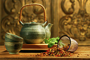 Saucer Prints - Asian herb tea Print by Sandra Cunningham