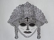 Religious Artist Drawings Metal Prints - Asian Mask Metal Print by Donna Wilson
