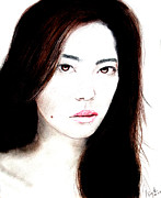 Beauty Mark Drawings - Asian Model II by Jim Fitzpatrick